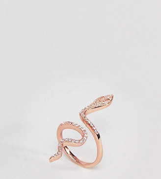 Shashi Sterling Silver 18K Rose Gold Plated Large Snake Pave Ring