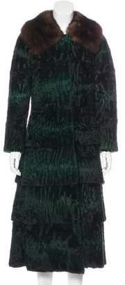 Oscar de la Renta Sable Fur-Trimmed Broadtail Coat