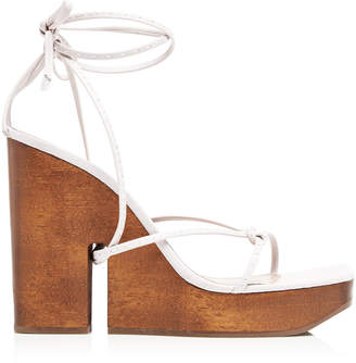 Jacquemus Pilotis Wooden Wedge Leather Sandals