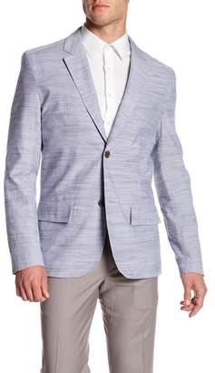 Jachs Blue Woven Two Button Notch Lapel Cotton Blazer