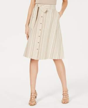 Bar III Striped Button-Front Midi Skirt, Created for Macy's