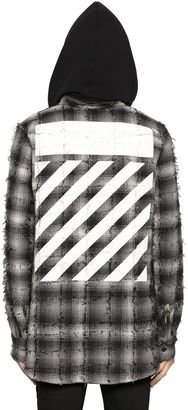 Plaid Flannel Hooded Shirt W/ Stripes $663 thestylecure.com