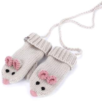 Peppercorn Kids Mouse Mittens with cord (fleece lining) - Beige