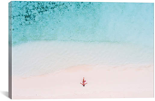 Matteo Colombo Woman Relaxing On Beach, Maldives Wrapped Canvas
