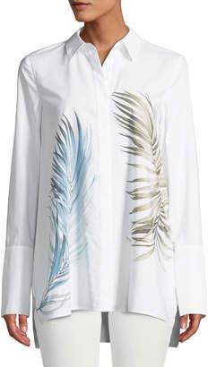 Lafayette 148 New York Porto Placed Palms Button-Front Cotton Blouse, Plus Size