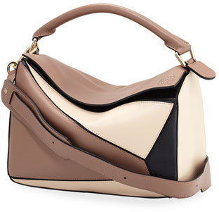 Loewe Puzzle Colorblock Leather Satchel Bag, Hazelnut/Black/Ivory $2,450 thestylecure.com