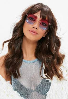Missguided Pink Ombre Angular Shape Sunglasses