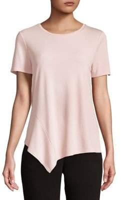 Halston H Short-Sleeve Asymmetric Hem Tee