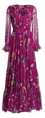 Alice + Olivia Borgo de Nor Anna Floral Long-Sleeve Silk Maxi Dress