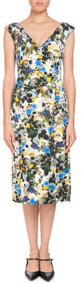 Erdem Jyoti Off-the-Shoulder V-Neck Meadow Floral Jacquard Sheath Dress