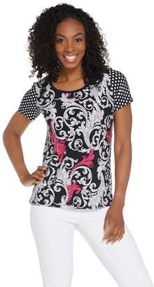 Susan Graver Solid or Printed Liquid Knit Short Sleeve Top