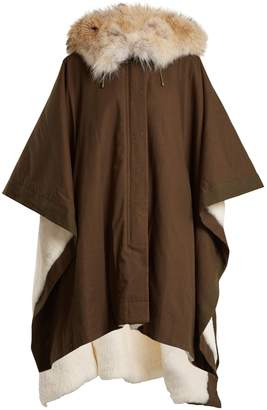 Yves Salomon ARMY Fur-lined hooded cotton-canvas cape