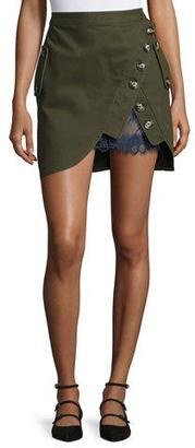 Self-Portrait Utility Miniskirt with Lace Insert, Khaki $375 thestylecure.com