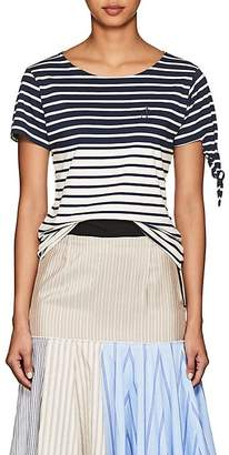 J.W.Anderson Women's Knotted-Cuff Striped Cotton T-Shirt