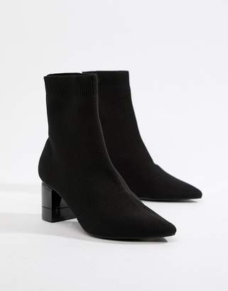Pull&Bear point toe ankle boot in black