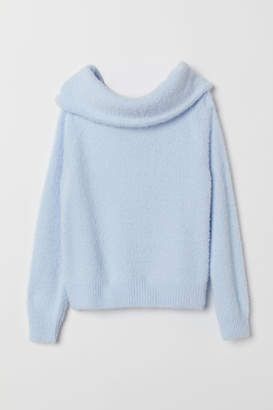 H&M Off-the-shoulder Sweater - Blue