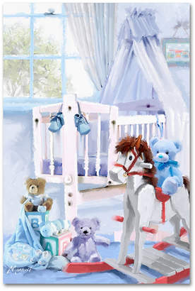 "Trademark Global The Macneil Studio 'Baby Boy's Cot' Canvas Art, 12x19"""
