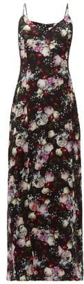 Erdem Aspen Clarence Floral Print Satin Slip Dress - Womens - Black Multi