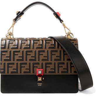 Fendi Kan I Embossed Leather Shoulder Bag - Black