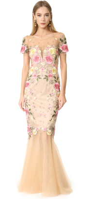 Marchesa Notte Floral Embroidery Gown $1,295 thestylecure.com