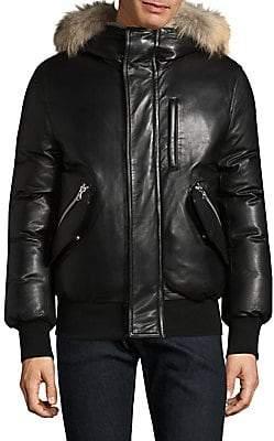 Mackage Men's Gable-S Fur-Trim Leather Bomber Jacket