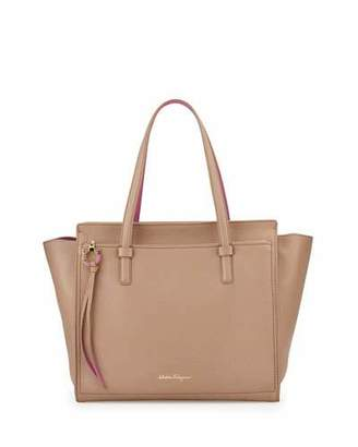 Salvatore Ferragamo Amy Gancio Large Leather Tote Bag, Nutmeg/Anemone $1,490 thestylecure.com