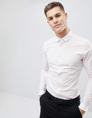 Asos Design DESIGN Smart Sretch Slim Check Shirt With Contrast Collar And Cuff