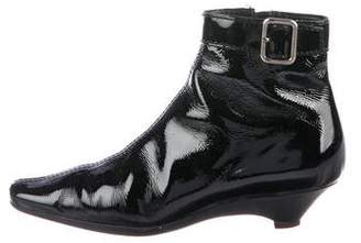 Prada Buckle Patent Leather Ankle Boots
