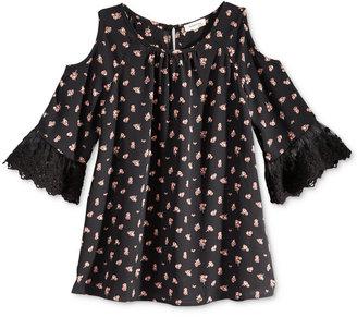 Monteau Cold Shoulder Floral-Print Top, Big Girls (7-16) $32 thestylecure.com