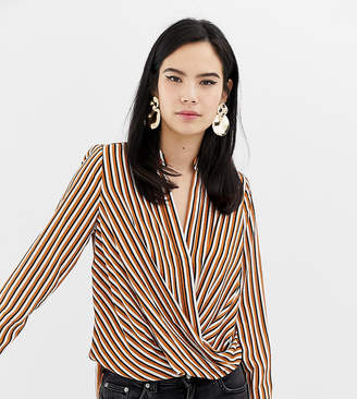 New Look Stripe Twist Front Wrap Top