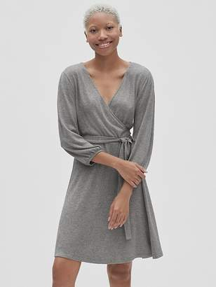 Gap Softspun Three-Quarter Sleeve Wrap Dress