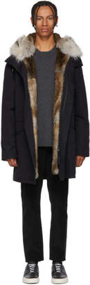Yves Salomon Navy Multi Fur Bachette Parka