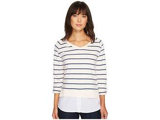 U.S. Polo Assn. Striped French Terry and Woven Twofer Top Women's Clothing