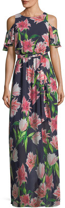 Eliza J Floral-Print Cold-Shoulder Maxi Dress $129 thestylecure.com