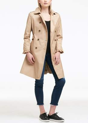 DKNY Ruffled Double-Breasted Belted Trench Coat