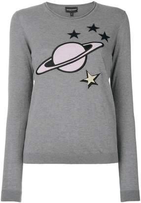 Emporio Armani embroidered planet sweater