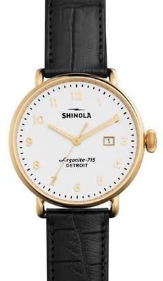 Shinola 43mm Canfield Alligator Strap Watch, Black $900 thestylecure.com