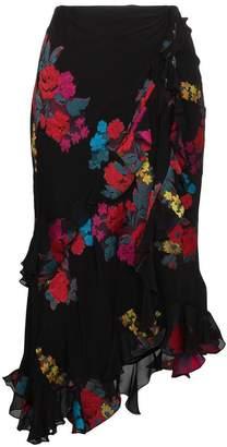 floral embroidered midi wrap asymmetric skirt