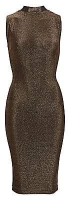 RtA Women's Bandit Metallic Sleeveless Midi Bodycon Dress