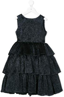 Oscar de la Renta Kids crinke lamé tiered dress