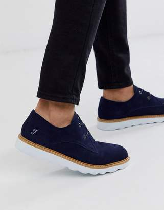 Farah suede lace up shoe in navy