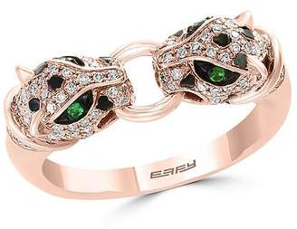 Bloomingdale's Diamond & Tsavorite Double Panther Ring in 14K Rose Gold, 0.33 ct. t.w. - 100% Exclusive