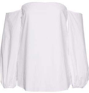 Theory Off-The-Shoulder Cotton-Blend Poplin Top
