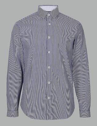 Marks and Spencer Cotton Rich Slim Fit Striped Shirt