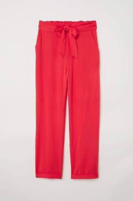 H&M Paper-bag Pants - Bright red - Women