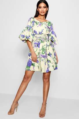 boohoo Audry Lace Up Front Volume Sleeve Skater Dress