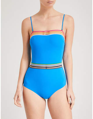 MONICA Emma Pake Ladies Blue Striped Practical Bandeau Swimsuit