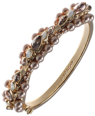 Givenchy Gold-Tone Bangle Bracelet with Varied Crystals & Pearls