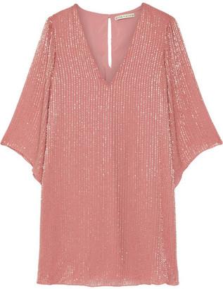 Alice + Olivia - Tammin Embellished Chiffon Mini Dress - Antique rose $600 thestylecure.com