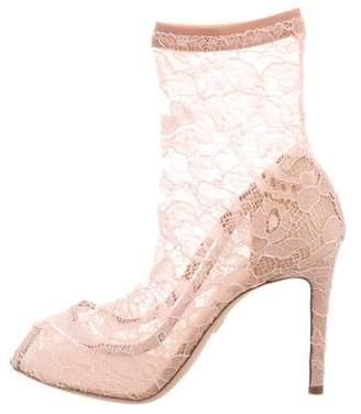 Dolce & Gabbana Peep-Toe Lace Booties